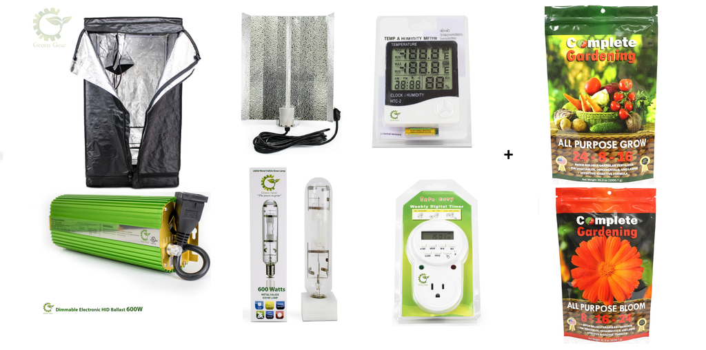 GREEN GEAR GROW BUNDLE - GROW TENT, BALLAST, LAMPS, METERS, NUTRIENTS, TIMERS