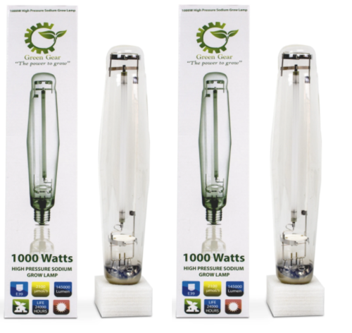 Green Gear 1000w Watt High Pressure Sodium HPS Grow Light Bulb Lamp 2-PACK