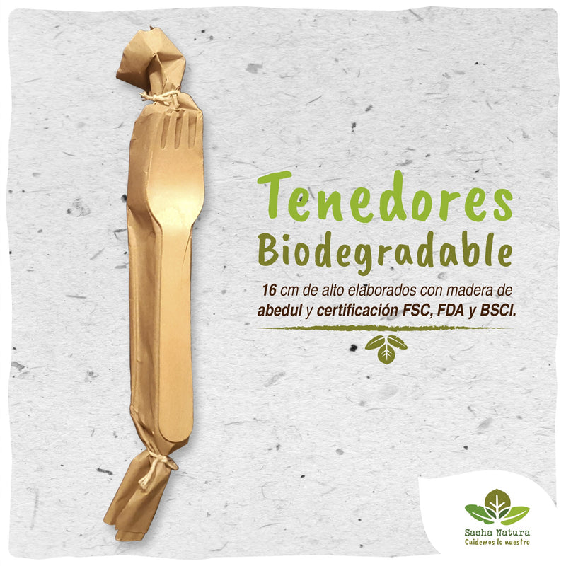 Tenedores de Abedul Biodegradable