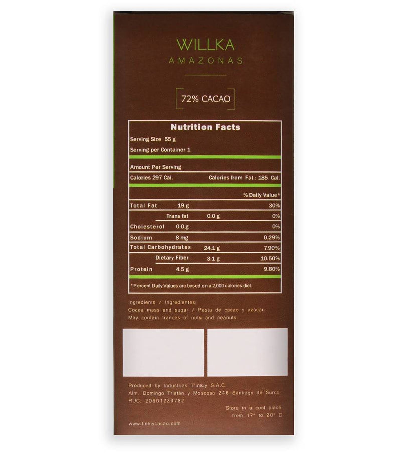 PACK DE 3 TABLETAS WILLKA: 72% cacao de Amazonas
