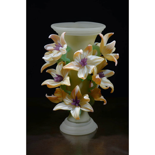 Smoke White Vase with Florence Clematis