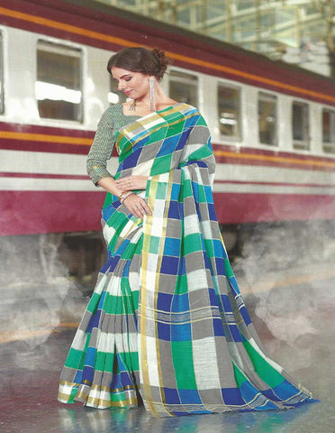 Light Green With Blue Checked Synthetic Cotton Saree - FH285