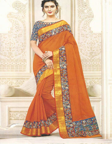 Orange  Gadwal Cotton  Saree -EZ16850