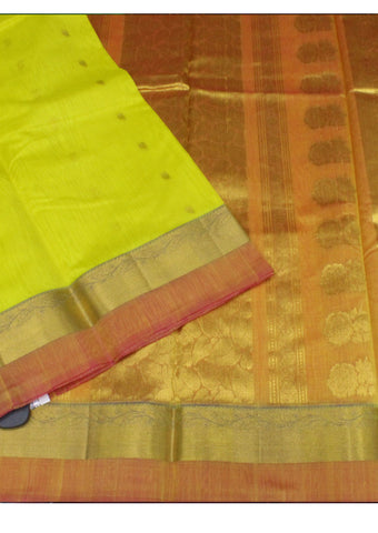 Lemon yellow Pure Silk cotton Saree