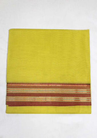 Lemon Green Cotton 9.5 yards Saree - FN49256