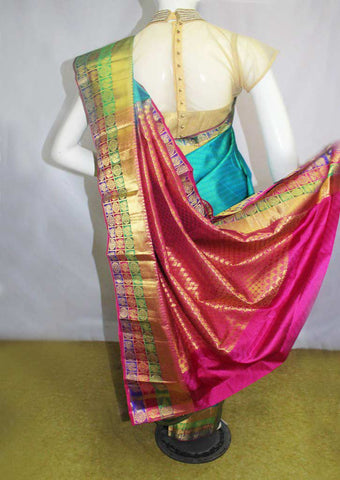Green With Pink Kanchipuram Silk Saree - FN80581