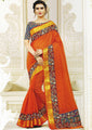 Orange Gadwal cotton Saree