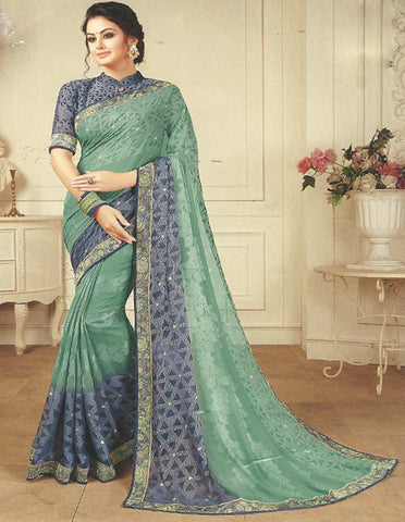 Light Green With Gray Synthetic Saree -FF19289