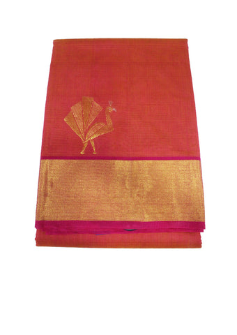 Light Red Pure Silk cotton Saree