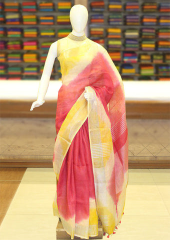 Red With Yellow Color Linen Cotton Saree