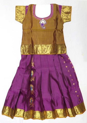 Brown Pure silk Stitched pattu pavadai - FX12485 ( Age-3 years) ARRS Silks