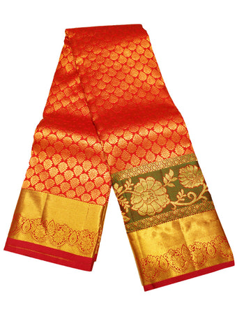 Dark Orange with pink Muhurtham Silk Saree