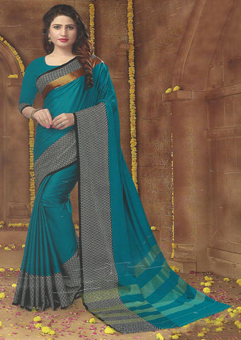 Peacock Blue Aara cotton Saree-FG3342