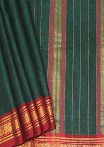 Dark Green Cotton 9.5 yards Saree - FN49264