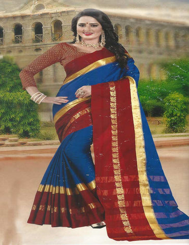 Pepsiblue with Red Aara Cotton  Saree -FG3344
