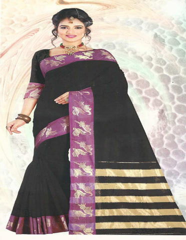 Black With Mejanta Pure Cotton  Saree -FG3343