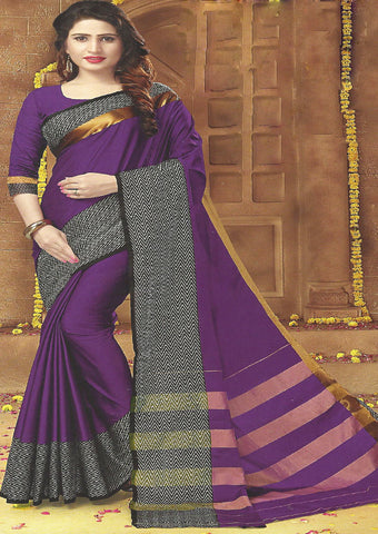 Voilet Color Aara cotton Saree