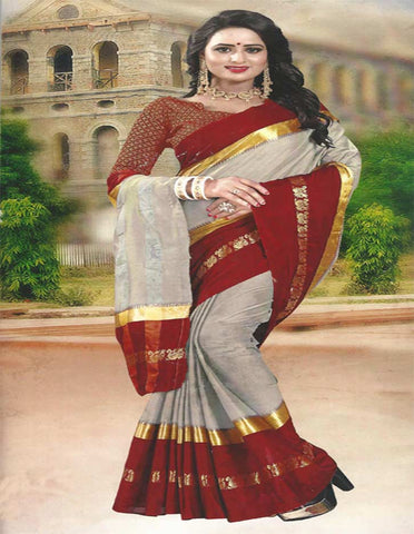 Gray With Maroon Cotton Saree - FG3344