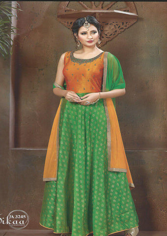Orange With Green  Readymade Salwar