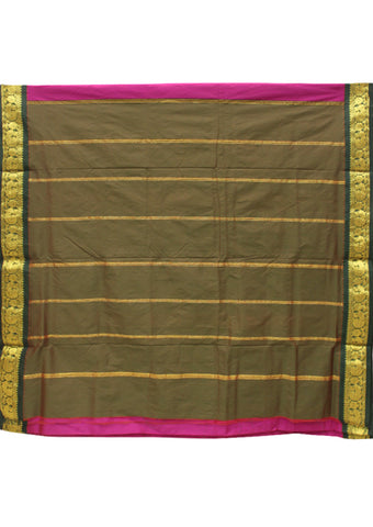 Pink with green Poly silk nine yards Saree
