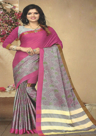 Pink Color Aara cotton Saree