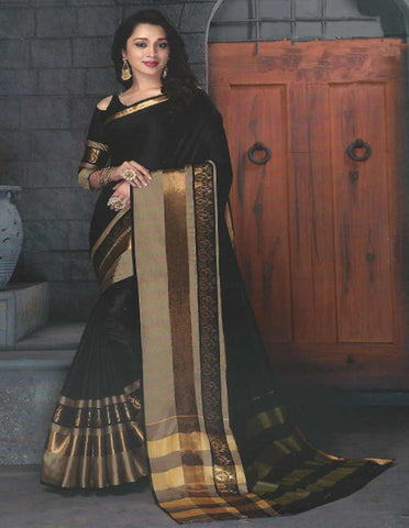 Black Aara Cotton Saree - FE11191