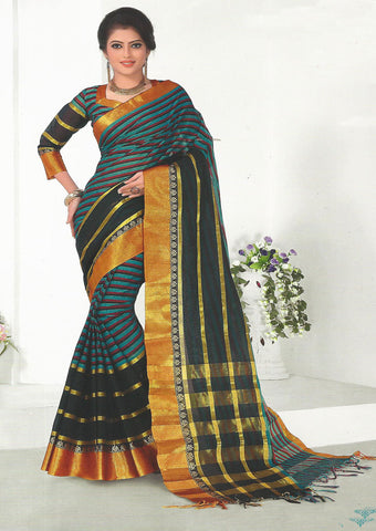 Multi Color Pure Cotton Saree - EX5446