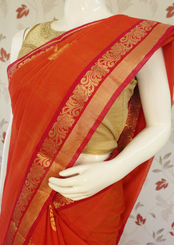 Orange with Red Pure Silk cotton Saree