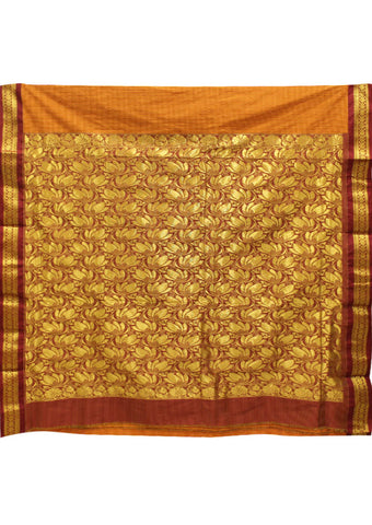 Mustard orange with Golden Poly silk nine yards Saree