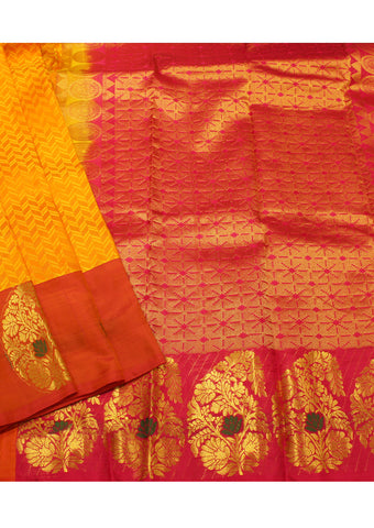 Yellow Kanchipuram Pure Silk Saree