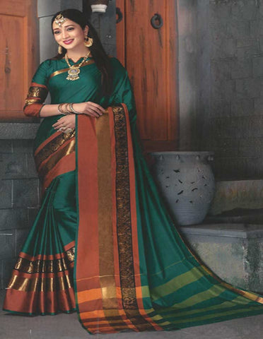 Green Aara Cotton Saree - FE11193