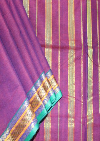 Light Violet cotton 9.5 yards Saree-FL96609