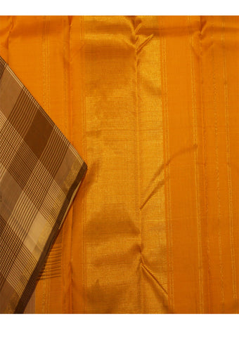 Light Orange With brown  Pure Silk Saree