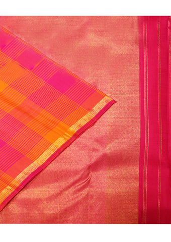 Pink With Orange Checked Pure Silk Saree