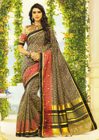 Black Gadwal cotton Saree - EY2909