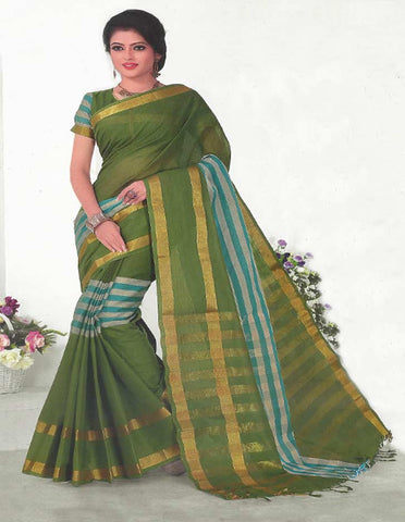 Green Pure Cotton Saree - EX5446