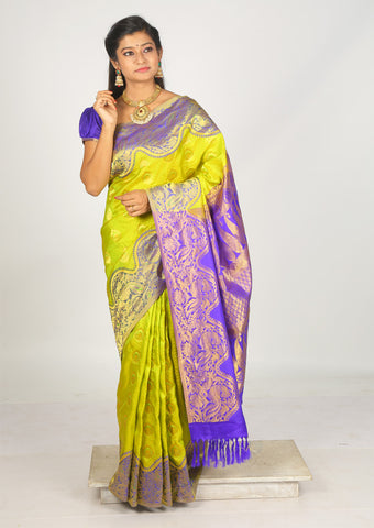 Lemon Green With Violet  Nakshatra Pure Silk Saree - FH1904