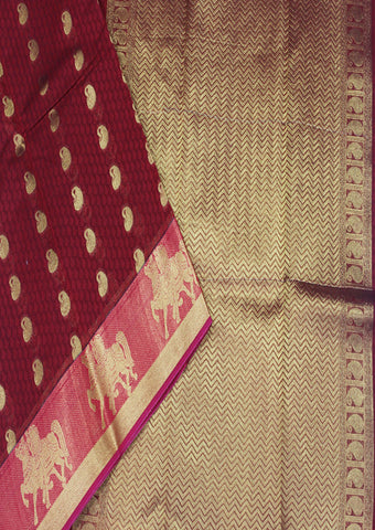 Maroon Pure Silk cotton Saree-FH1295