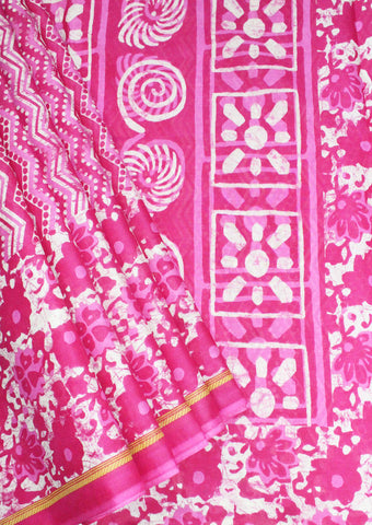 Pink With White Pure Cotton Saree - FF21609