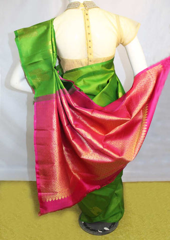 Green with Pink Kanchipuram Silk Saree-EU3603