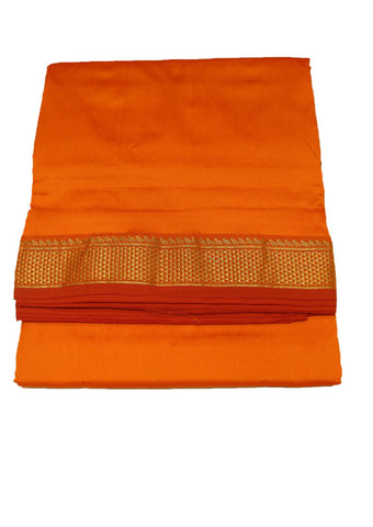 Mango Orange Poly silk nine yards Saree