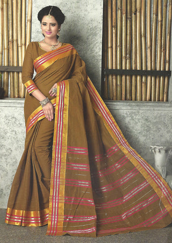Olive Pure Cotton Saree - FG3346