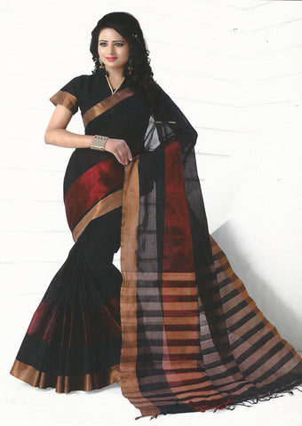 Black Pure Cotton Saree - EX5447
