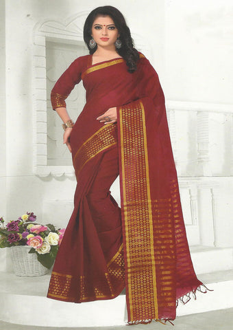Maroon Pure Cotton Saree - FX5446