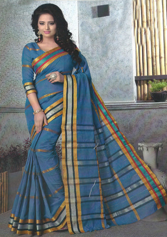 China Blue Pure Cotton Saree - EX5446