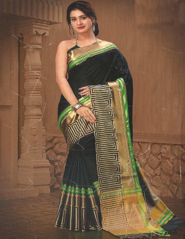 Black Aara Cotton Saree - FB8630