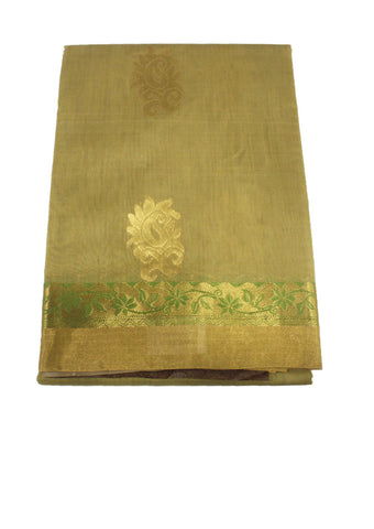 Green with gray Pure Silk cotton Saree
