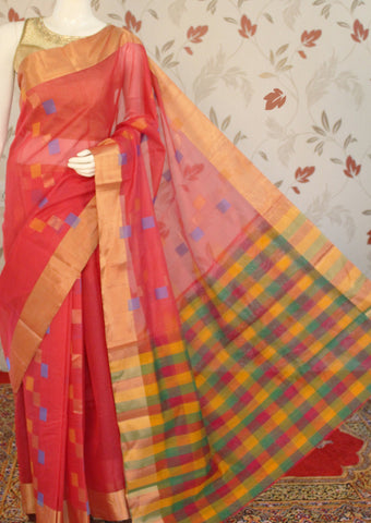Red Pure Silk cotton Saree