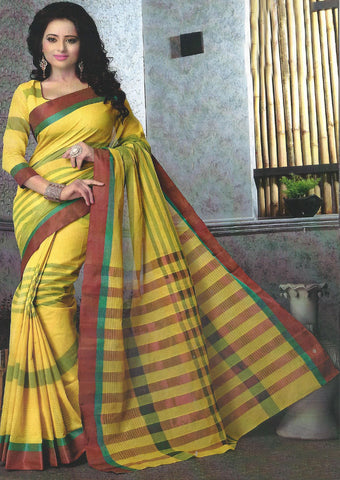 Yellow Pure Cotton Saree - EX5446