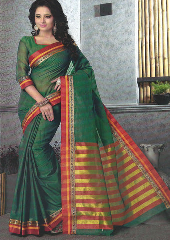 Dark Green Pure Cotton Saree - FX5446